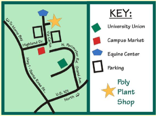 Map to the Poly Plant Shop, provided by the shop's website.
