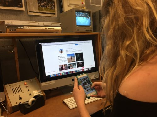 Our public relations specialist, @valleyally , searching instagram for #instafamous students