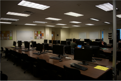 One of Cal Poly's computer science classrooms.
