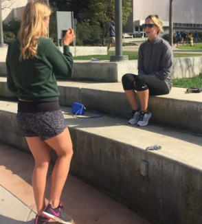 Allison Royal Interviewing Planet Beach employee Casey Handcock