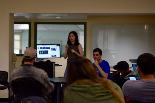 President of Cal Poly Democrats Club, senior Liana Riley, presents at their meeting Tuesday morning.