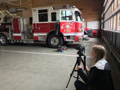Journalism senior Nicole Peterson films the inside of the San Luis Obispo Fire Department.