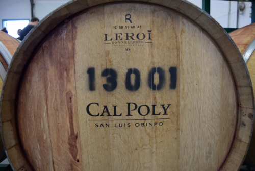 A Cal Poly wine barrel in the pilot center. Credited by: Andi DiMatteo