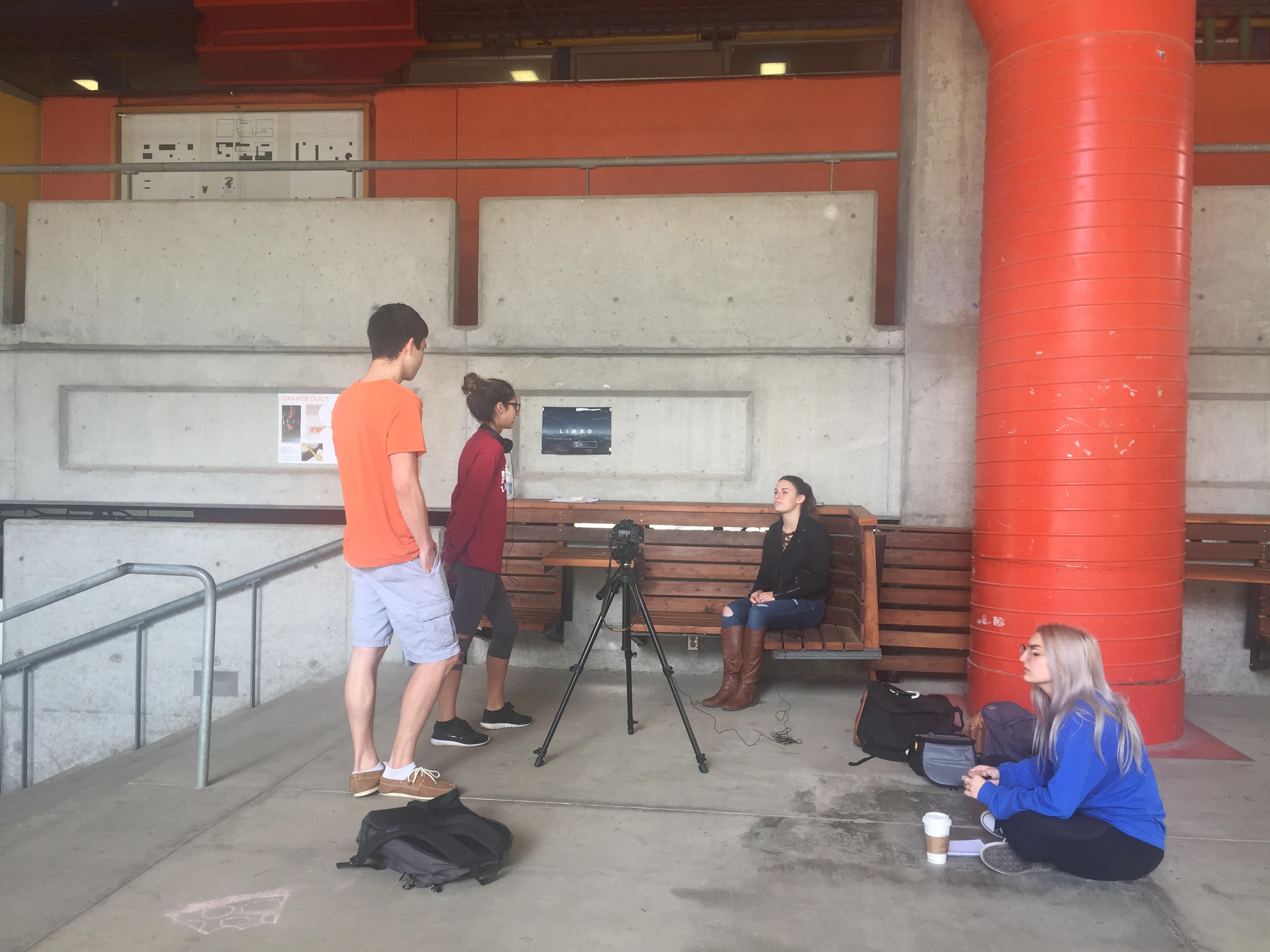 The group interviewing former Cal Poly Subway employee, Liberal Studies sophomore Marina Salluce